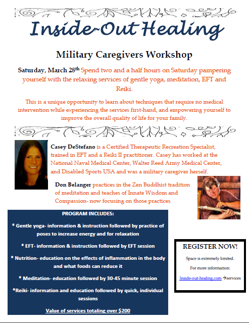 Military caregivers workshop March 28th